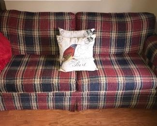 Chenille sofa in plaid pattern