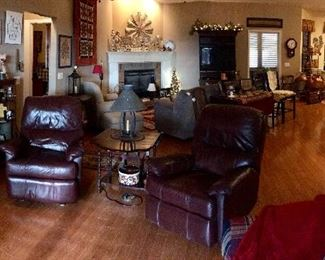 Dark Burgundy Wine Leather recliners
