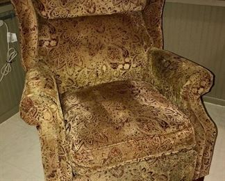 Recling wing back chair