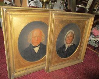 Pair of portraits on tin