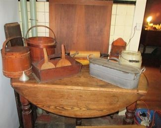 drop leaf table & country items