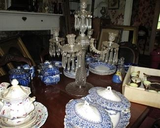 historical blue & candleabra