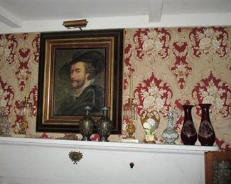 portrait & Victorian vases & candleholders