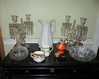 candelabra & cut glass
