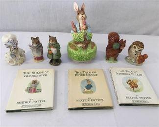 Beatrix Potter Figurines & Books 1, 2, & 3 Vintage 9 Piece           https://ctbids.com/#!/description/share/171497