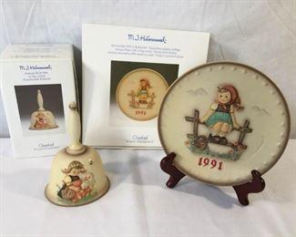M.I. Hummel Goebel 1991 Plate & Bell 3 Piece           https://ctbids.com/#!/description/share/171503