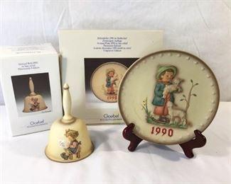 M. I. Hummel Goebel 1990 Plate & Bell 3 Piece https://ctbids.com/#!/description/share/171507
