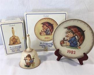 M. I. Hummel Goebel 1982 Plate & Bell 3 Piece           https://ctbids.com/#!/description/share/171511