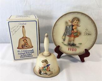 M. I. Hummel Goebel 1980 Plate & Bell 3 Piece https://ctbids.com/#!/description/share/171513