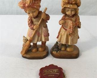 ANRI Sarah Kay Vintage Hand Carved Figurines 2 Piece #3     https://ctbids.com/#!/description/share/171540