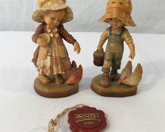 ANRI Sarah Kay Vintage Hand Carved Figurines 2 Piece #4            https://ctbids.com/#!/description/share/171542