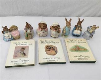 Beatrix Potter Figurines & Books 5, 6, & 10 Vintage 10 Piece      https://ctbids.com/#!/description/share/171554