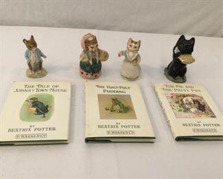 Beatrix Potter Figurines & Books 15, 16, & 17 Vintage 7 Piece            https://ctbids.com/#!/description/share/171556