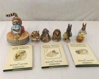 Beatrix Potter Figurines & Books 21, 22, & 23 Vintage 9 Piece https://ctbids.com/#!/description/share/171558