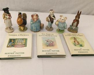 Beatrix Potter Figurines & Books 18, 19, & 20 Vintage 9 Piece       https://ctbids.com/#!/description/share/171557