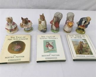 Beatrix Potter Figurines & Books 11, 12, & 13 Vintage 9 Piece       https://ctbids.com/#!/description/share/171555