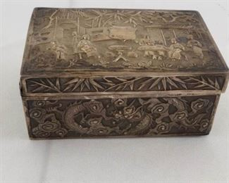 Chinese Repousse' Hammered Silver Box https://ctbids.com/#!/description/share/171767
