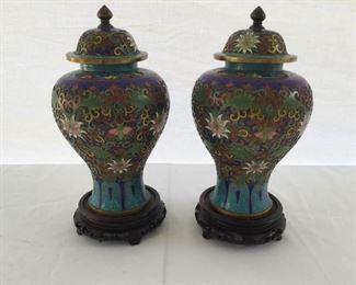 A Pair of Asian Cloisonné Covered Jars https://ctbids.com/#!/description/share/171768