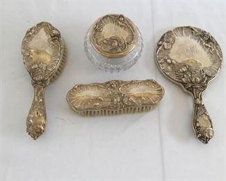 Antique Simons Brothers Art Nouveau Sterling Silver Vanity Set https://ctbids.com/#!/description/share/171769