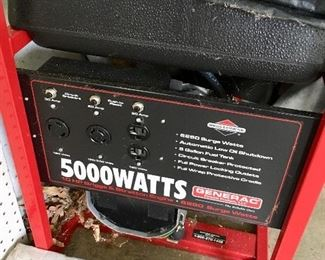 Briggs & Stratton generator. Includes appropriate attachments to hook up power to your house.