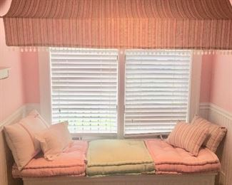 Storage chest by Stanley with Lily Pulitzer pillows, the fabric awning is also for sale (two available)