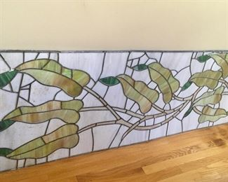 Two 7 ft stained glass panels