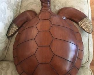 Pair of large wooden turtles