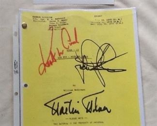 Great Autographed Script from Adam 12 TV Series 1970 - Rare!  Kent McCord as Jim Reed and Martin Milner as Pete Malloy LAPD.