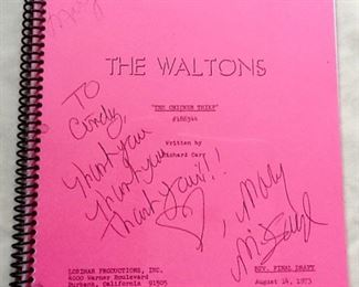 Great Autographed Script from The Waltons TV Series 1973  THE CHICKEN THIEF EPISODE Rare! A few Autographs.