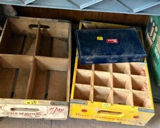 Fresh Up 7 Up Wooden Crate and Yellow Coke Crate