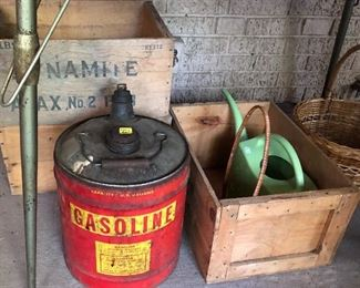 Wooden Crates, Old Gas Can