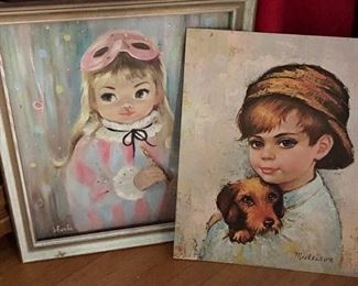 """1960's, MIMI, Sherle, Museum Print, Masked Girl with Flute, Original Frame and Medeiros """"Tom Sawyer"""" Boy and Dog Painting Print"""