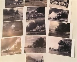 Pearl Harbor December 7, 1941. Personal Pictures,  this individual took the first pictures of when Pearl Harbor was hit by the Japanese. Pictures are black and white numbered 1-16 and taken by an old Brownie Camera. Picture #1 states facts about these pictures. Very Rare Find.