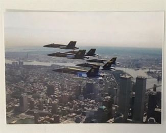 "Color Photo of the Last Flight for the ""Blue Angels"" over The Twin Towers.  Four Days later the Twin Towers were hit, September 11, 2001."
