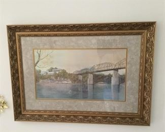 "Chattanooga's Favorite ""MARKET STREET BRIDGE"" Larry Dodson 1979 Offset Lithograph  ""REFLECTIONS OF TIME"""