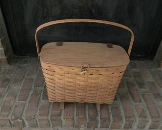 Longaberger Wine & Cheese Picnic Basket on Riser with lid and leather hungers.  Made in USA Comes with plastic liner. Very Nice!