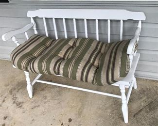 White wood Love Seat, goes with  a set of two rocking chairs and table.