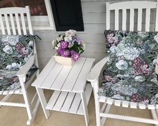 Set of two Rocking Chairs with Matching Center Table.  A matching Love Seat is not shown.