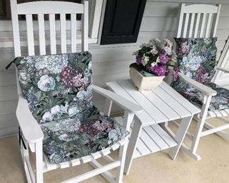 Closer look at the solid wood Porch Rocking Chairs with matching Table.