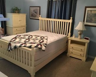 This Bedroom Suite is perfect for the Master Suite or Guest Room.  This four piece set includes Queen Bed, Upright Chest with small Closet Door and Drawers, Night Stand Table, and Dresser with Mirror.  All priced to sell first day of the Sale.
