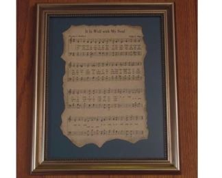 "Antiqued Hymn Sheet Music Framed 14x10"". This beautiful framed hymn has been hand antiqued on parchment paper with burnt edges. A piece that is a must have in any home!"