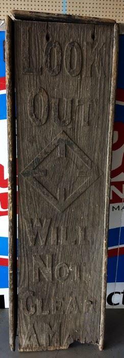 Vintage Wood Bridge Warning Sign