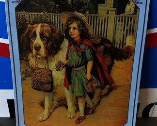 St. Bernard/Girl Tin Sign