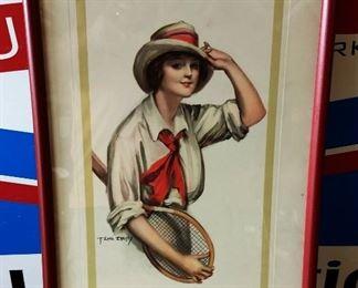 Early 1900s F. Earl Christy Print, Framed- Tennis Girl