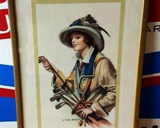 Early 1900s F. Earl Christy Print, Framed- Golf Girl