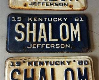"1980-82 Kentucky License Plate ""Shalom"""