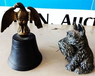 Cast Iron Handbell and Dog Bank