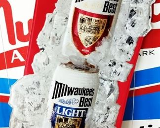 Die-cut Milwaukee's Best Beer Tin Sign