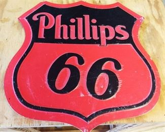 """Phillips 66"" Die-Cut Tin Sign"