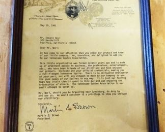 1981 Jack Daniels Letter